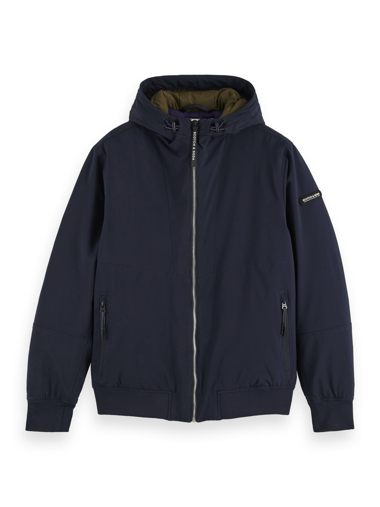 Hooded quilted stretch-nylon jacket