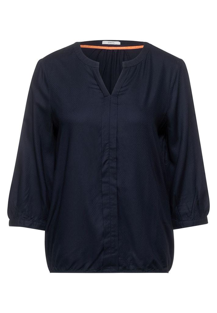 Dobby Bluse in Unifarbe